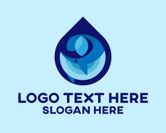 Water Drop - Blue Whale Drop logo design