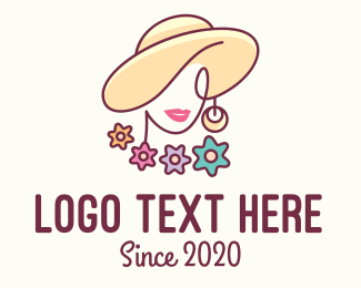 Lifestyle - Flower Woman Hat logo design
