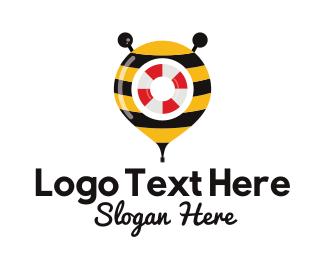 Lifeguard - Bee Rescue Location Pin logo design
