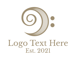 Classical Music - Classic Bass Clef logo design