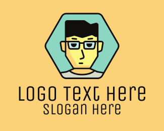 Dude - Boy Hexagon Badge logo design