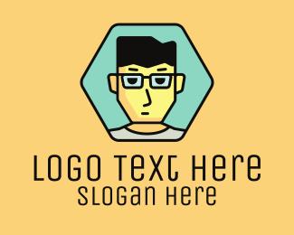 Nerdy - Boy Hexagon Badge logo design