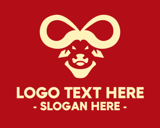 Bison - Infinity Buffalo Bull Horns logo design