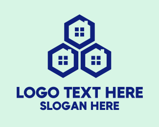 Window Cleaning - Blue Hexagon Windows logo design