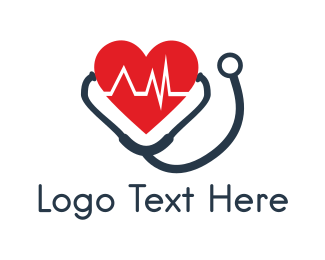 Heartbeat - Heart & Stethoscope logo design
