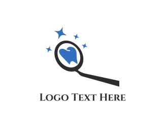 Shiny - Dental Tooth Mirror logo design