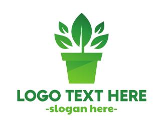 Healthy Living - Green Leaf Pot  logo design