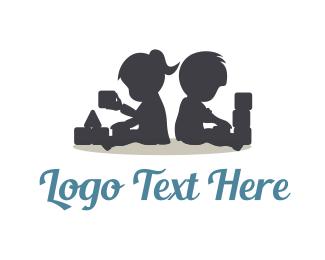 Baby - Kids Playing Silhouette logo design