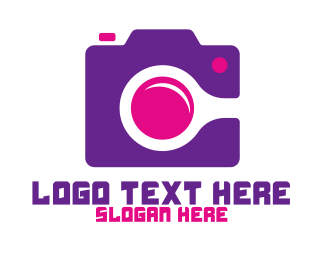 Purple Camera - Purple Pink Photography Camera logo design