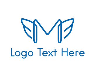 Angel - Winged Letter M logo design