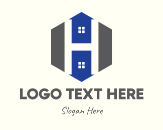 Dormitory - Hexagon Arrow House Letter H logo design
