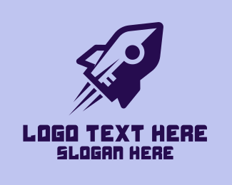 Rocket Launch - Purple Rocket Ship  logo design