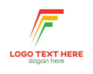 Stripes - Colorful F Stripes  logo design