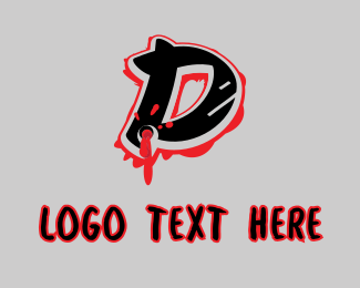 Rap - Splatter Graffiti Letter D logo design