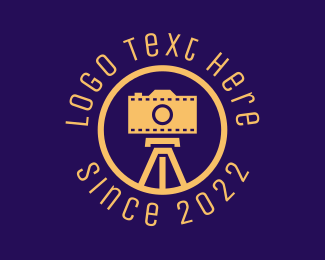 Vlogger - Photography Film Camera Tripod logo design