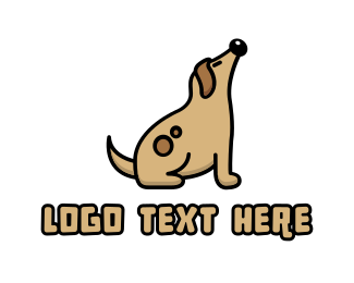 Dog Sitting - Brown Fat Dog logo design