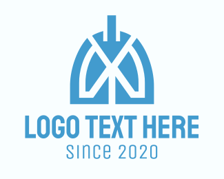 Lung Cancer - Abstract Blue Respiratory Lungs logo design