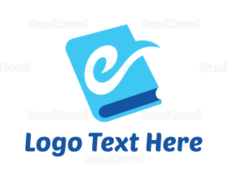 University - Blue E Book logo design