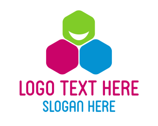 Smiling - Happy Hexagon logo design