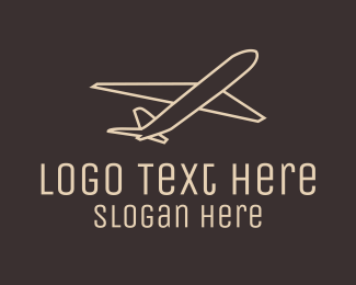 Pilot Training - White Plane Outline logo design