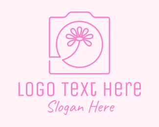 Digital Photography - Pink Flower Photography Camera logo design