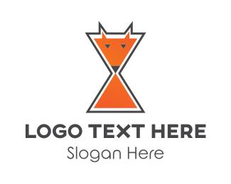 Clock - Fox Time Hourglass logo design