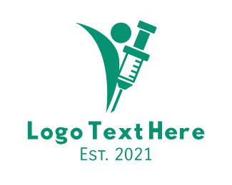 Blood Donation - Green Medical Vaccine  logo design