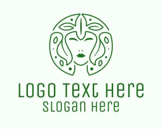 Crown - Organic Woman Leaves logo design