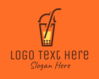 Milk Tea Shop - Modern Boba Cup logo design