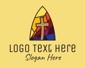 Stained - Colorful Church Window Mosaic  logo design
