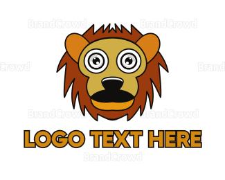 Lioness - Cartoon Lion Outline logo design