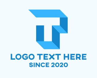 Interior Design - Blue Geometric Letter T logo design