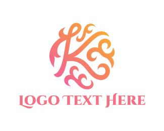Interior Decoration - Floral Letter K logo design