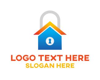 Burglar - Locked Blue Home logo design