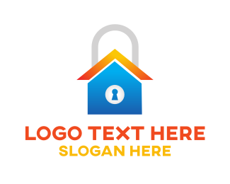 Save - Locked Blue Home logo design