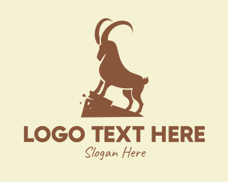 Wild Goat - Brown Wild Alpine Ibex logo design
