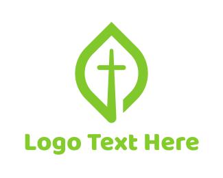 Cross - Leaf Cross logo design