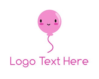 Party Supplies - Pink Kawaii Balloon logo design