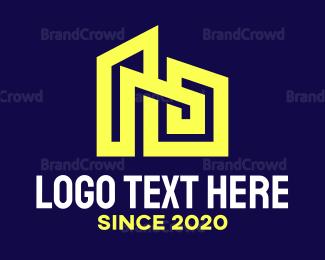 Decoration - Blue House Frame Outline logo design