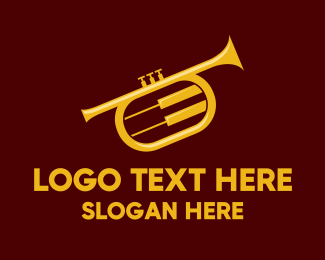 Trumpet Player - Yellow Trumpet Jazz Music logo design