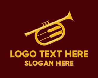 Concert - Yellow Trumpet Jazz Music logo design