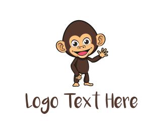 Ape - Cute Baby Chimp logo design