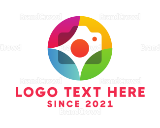 Cameraman - Colorful Journalist Badge logo design