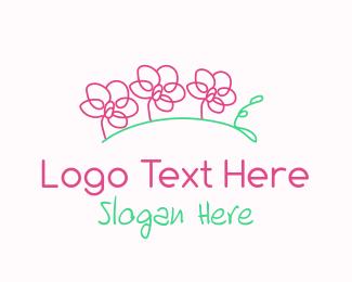 Orchids - Simple Floral Line Art logo design