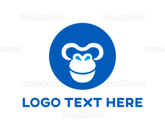 Chimp - Blue Round Monkey  logo design