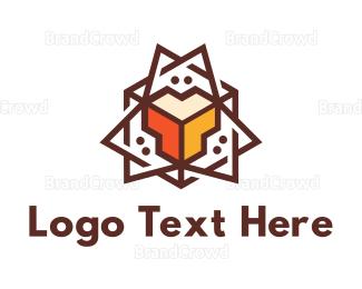 Learning Center - Modern Spike Polygon  logo design