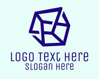 It - Violet 3D Cube Tech  logo design