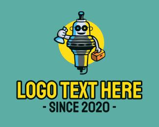 Droid - Spark Plug Mechanic Mascot logo design
