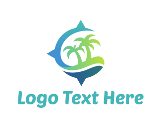 Beach Club - Island Compass logo design