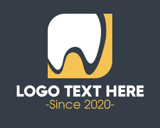 Molar - Abstract Yellow Tooth logo design